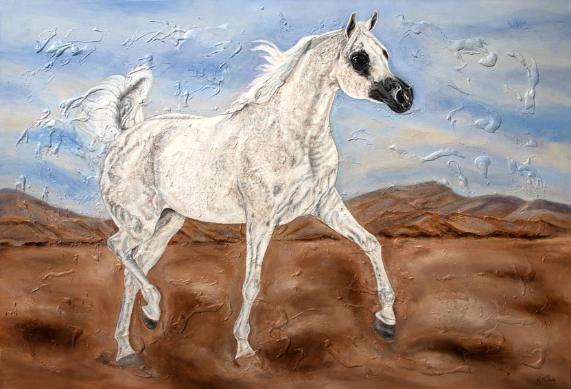 Commissioned arab horse painting