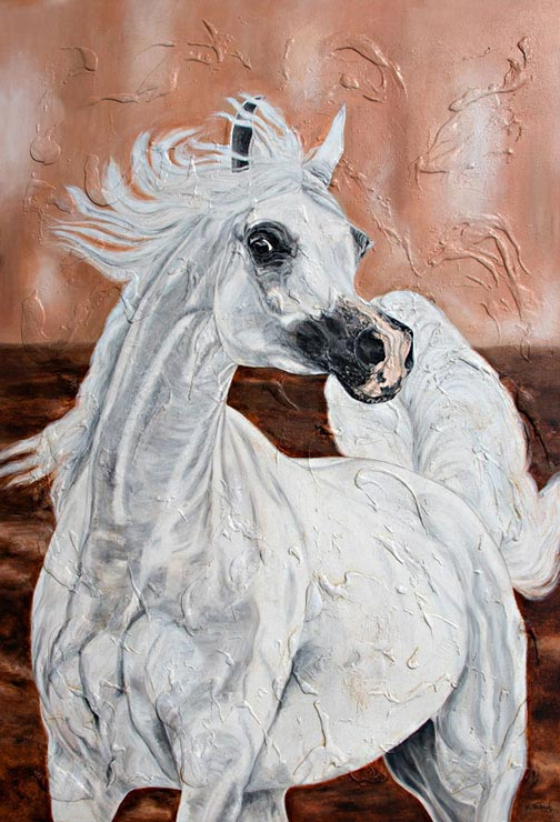 arabian horse painting commissioned work