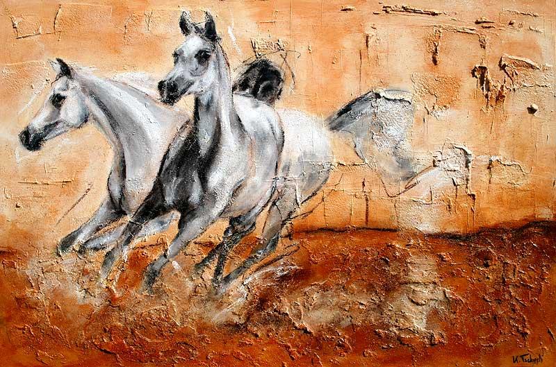arabian horses on canvas