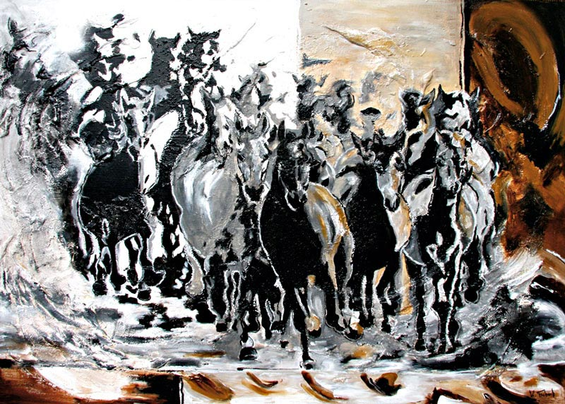Horse herd modern painting