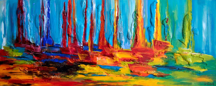 Abstract paintings coloured with structure