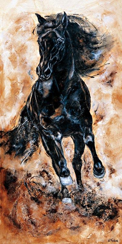 Black Horse running painting
