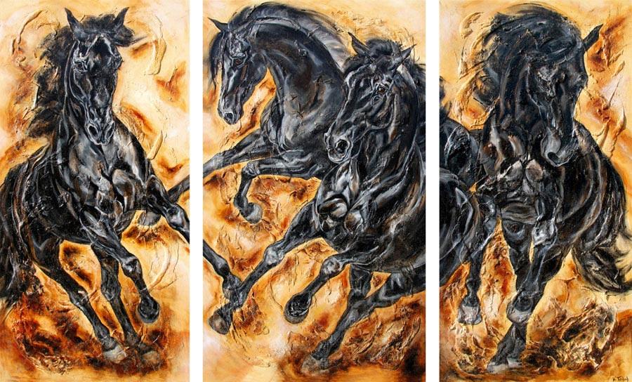Black Horses Triptych