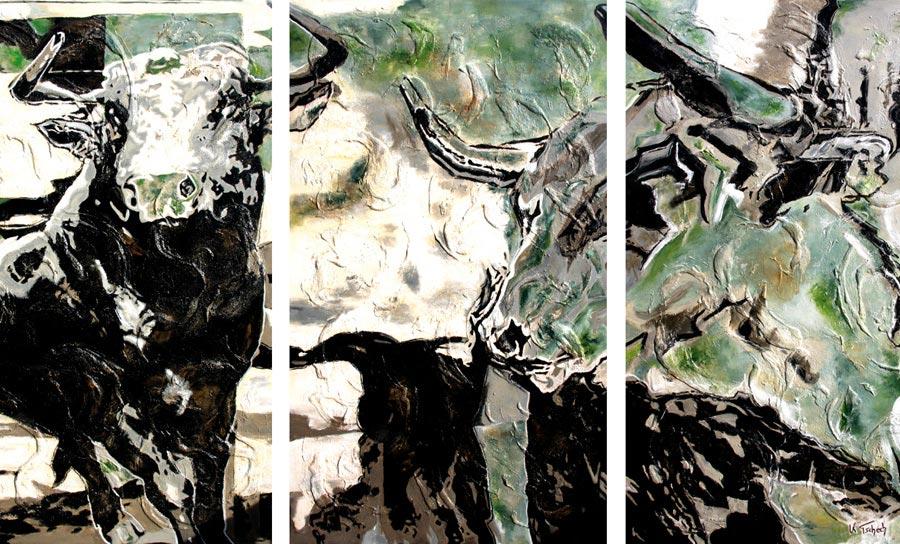 Modern bull painting Kerstin Tschech