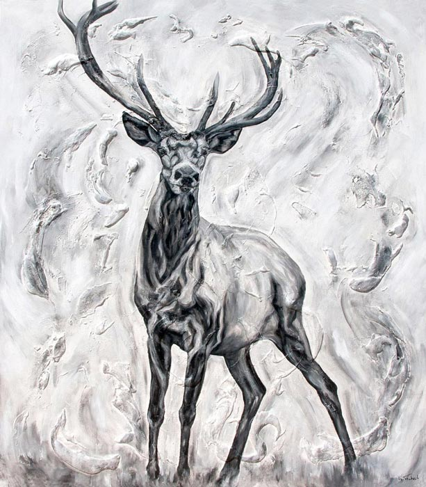 Deer painting black and white