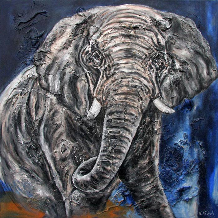 Elephant painting on canvas