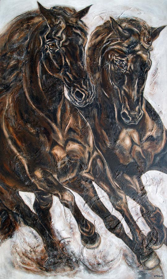 Commissioned horse paintings