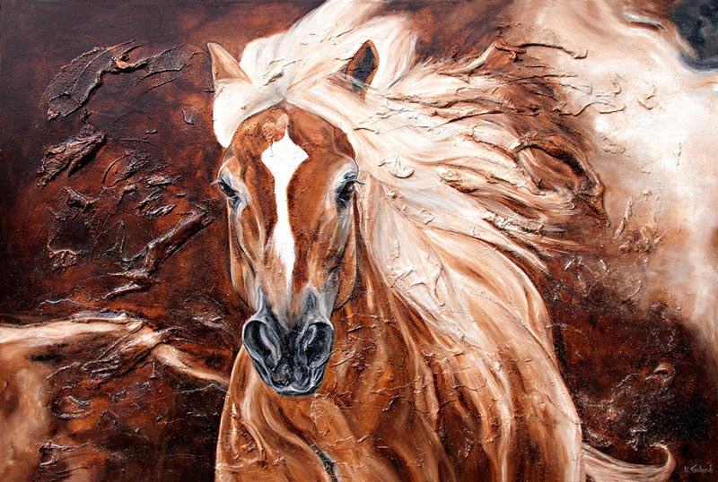 Haflinger Horse Painting with Structure