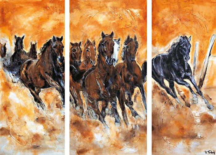Horse Herd Triptych painted