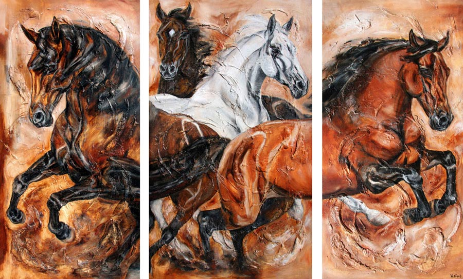 Horse Herd canter Painting