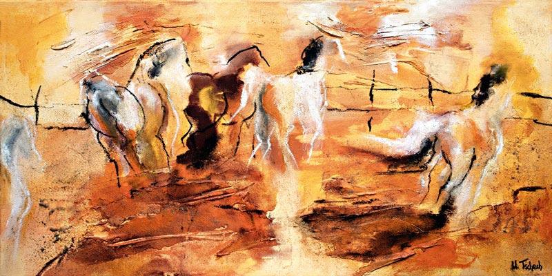 Horse Herd Painting abstract Kerstin Tschech