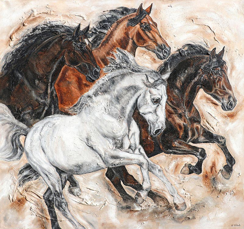 Horse herd painting with structure