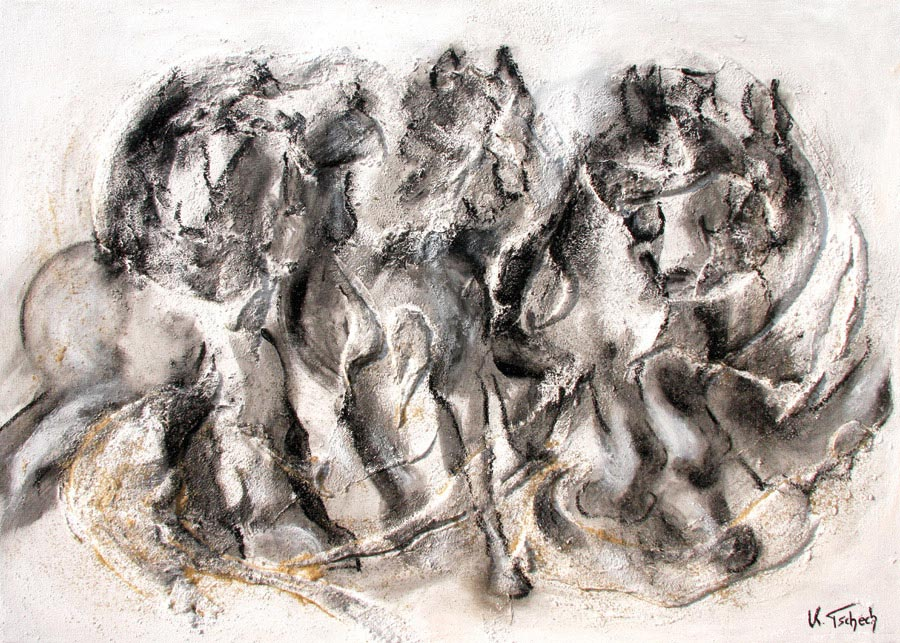 Horse painting black and white