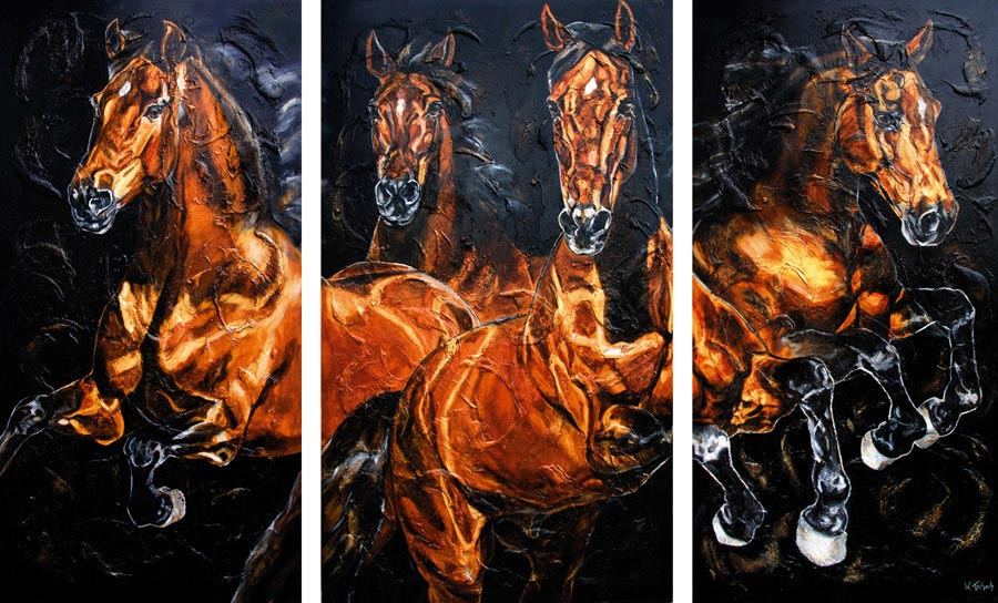 Warmblood Horses painting