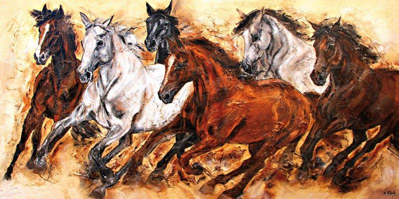 Horse Herd running painting