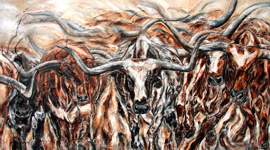 Longhorns painting with structure