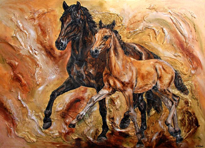 Mare with foal painting on canvas