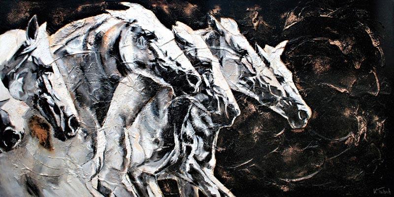 Mares horse painting Kerstin Tschech