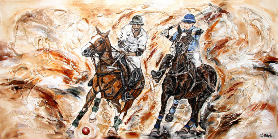 Polo horses painting with structure