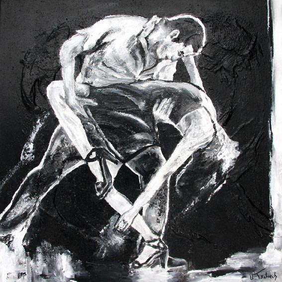 Salsa painting black and white
